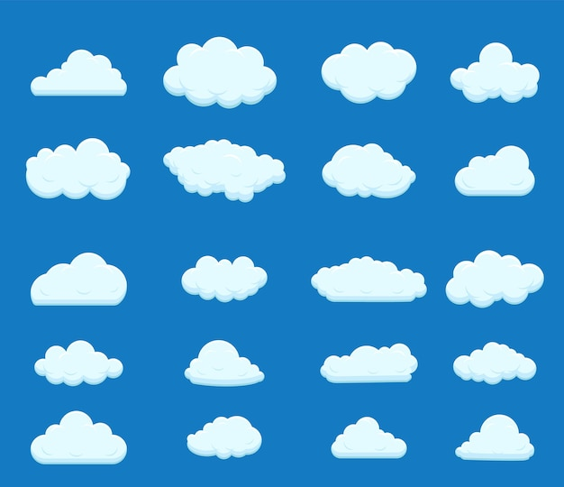 Insieme di cielo blu, nuvole.