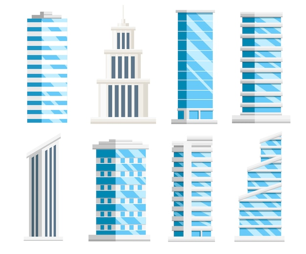 Set di grattacieli blu. collezione di edifici aziendali. elementi della città. illustrazione su sfondo bianco