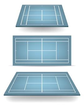 Set di campi da tennis blu con prospettiva.