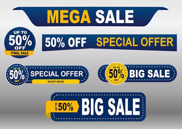 Set di cartellini dei prezzi blu e gialli tag design per venerdì nero