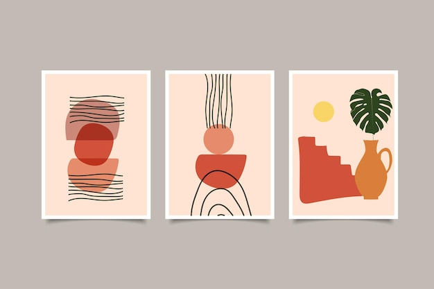 Set di arte murale contemporanea boho