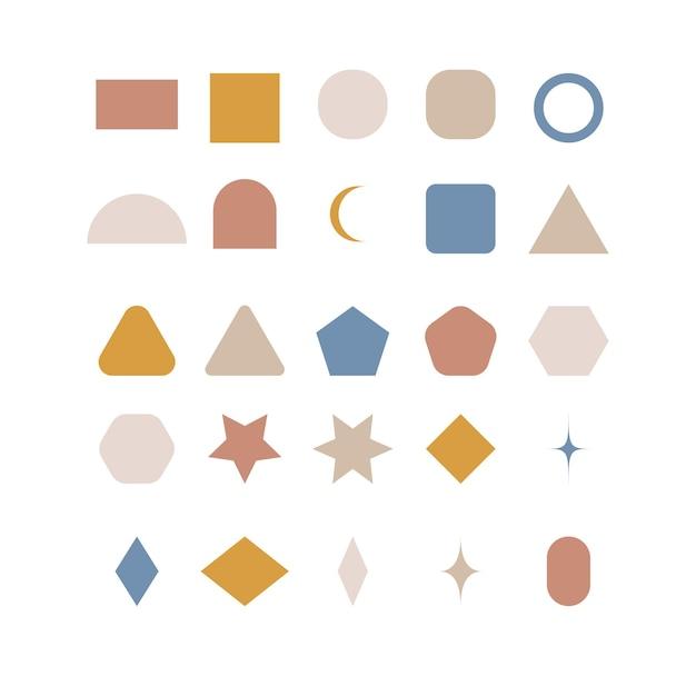 Impostare forme geometriche di doodle boho illustrazione vettoriale moderna