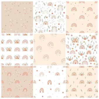 Set di modelli senza cuciture di vivaio boho con arcobaleni e fiori. illustrazione vettoriale.