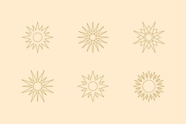 Set di boho sun in stile trendy fodera minimale. icona vettoriale, logo, etichette, badge per la stampa di t-shirt, creazione di modelli, post e storie sui social media