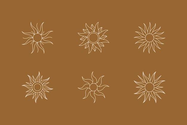 Set di boho sun in stile trendy fodera minimale. vector icon, logo, etichette, badge per la stampa di t-shirt, wall art, creazione di modelli, post e storie sui social media
