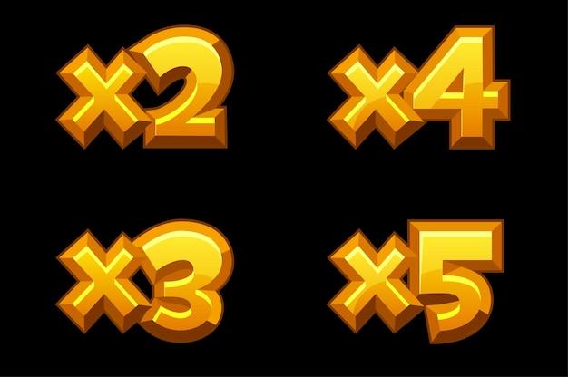 Set di numeri moltiplicati in oro bonus per i giochi