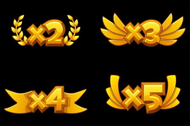 Set di bonus di numeri d'oro con moltiplicazione per il gioco.