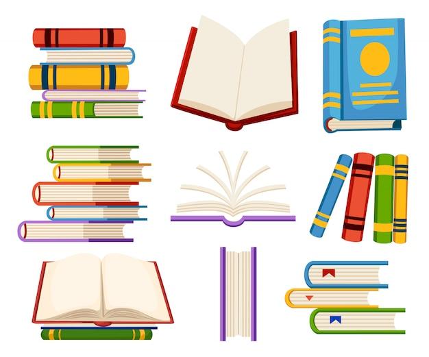 L'insieme delle icone del libro apre e chiude i libri nell'illustrazione di stile sulla pagina del sito web del fondo bianco e sul design dell'app mobile
