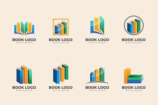 Set di modelli di logo del libro vettore premium