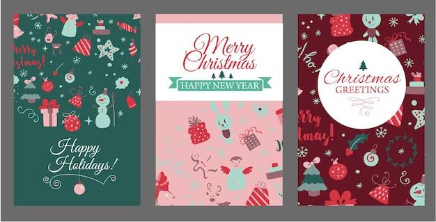 Set di modelli di copertine per opuscoli con elementi di design natalizio in vettore di cartoline di natale in stile scarabocchio