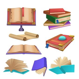 Set di libri. pila di libri, vecchio libro aperto su sfondo bianco. illustrazione di vettore del fumetto.