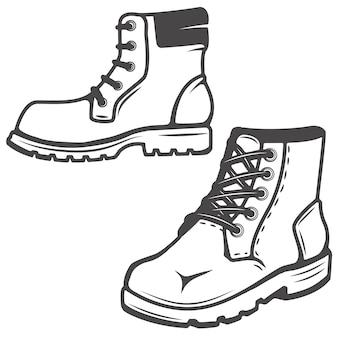 Insieme delle icone degli stivali su fondo bianco. immagini per, etichetta, emblema. illustrazione.