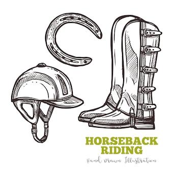 Set di stivali del cavaliere e schizzo a ferro di cavallo