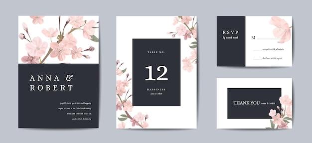 Set di biglietti d'invito per matrimonio retrò botanici, vintage save the date, modello di progettazione di fiori e foglie di sakura, illustrazione di fiori di ciliegio. copertina vettoriale alla moda, poster grafico pastello, brochure