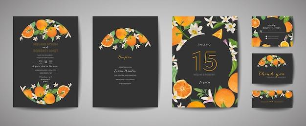 Set di biglietti d'invito per matrimonio botanico, vintage save the date, modello di design di arancia, agrumi, fiori e foglie, illustrazione di fiori. copertina vettoriale alla moda, poster grafico, brochure