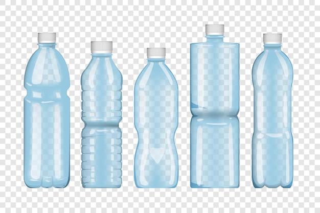 Set di bottiglie isolato su sfondo trasparente. Vettore Premium