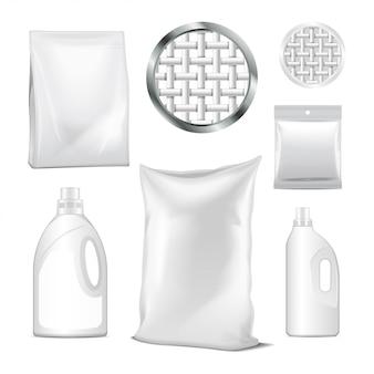 Set di bottiglie e confezione di detergenti per il lavaggio. bottiglia di plastica vuota per detersivo per bucato. immagine vettoriale realistica