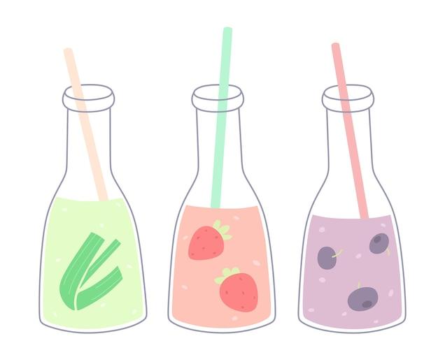 Set di bottiglie con frullati freschi o succhi di frutta succhi estivi set vettoriale di isolati su bianco