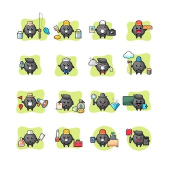 Set di professione di personaggio kawaii palla da bowling