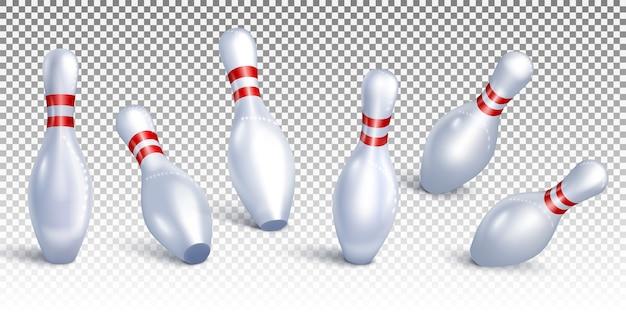 Impostare birilli da bowling che cadono da diverse angolazioni.