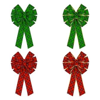 Set di fiocchi con trama tartan e bordi dorati per ghirlande e decorazioni natalizie