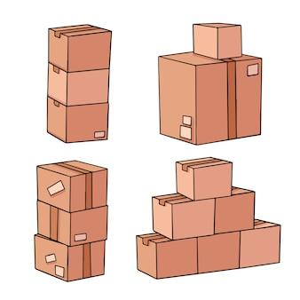 Insieme della raccolta di scarabocchio dell'illustrazione della scatola