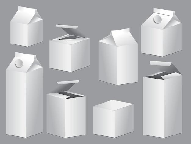 Set di scatole prodotto bianco vuoto mock up modello eps vettoriale