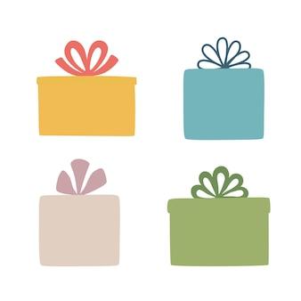 Imposta scatole. sagoma di una confezione regalo. è adatto per attirare l'attenzione sui volantini pubblicitari. illustrazione vettoriale