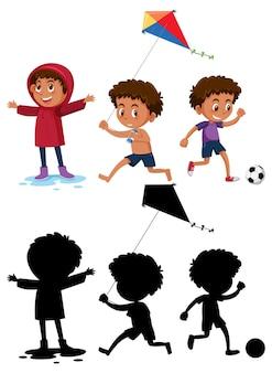 Set di un personaggio dei cartoni animati ragazzo che fa diverse attività con la sua silhouette