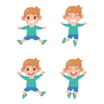 Insieme del ragazzo salta e sorride