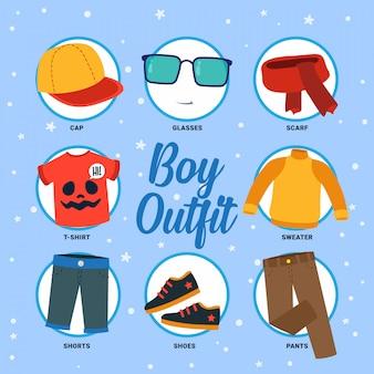 Set di raccolta di disegno vettoriale di ragazzo vestito