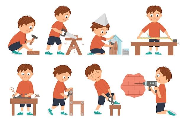 Set di ragazzi che fanno falegname o lavori in legno