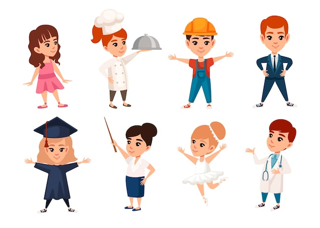 Set di ragazzi e ragazze che indossano costumi professioni personaggio dei cartoni animati design illustrazione vettoriale