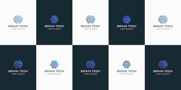 Set di loghi di tecnologia del cervello, per l'ispirazione del design.