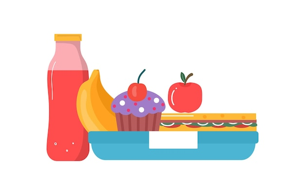 Set di colazione o pranzo. cibo, bevande per bambini scatole per il pranzo scolastico con pasto, cupcake, sandwich, succhi di frutta, snack, frutta, verdura. collezione vettoriale