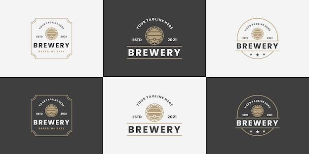 Set di birreria, stile vintage con logo a botte