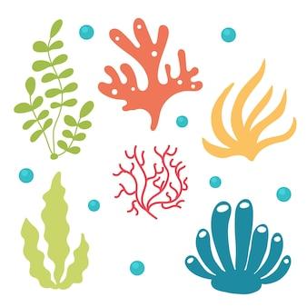Insieme delle alghe e dei coralli luminosi. bundle mare e oceano aqua flora sottomarina. illustrazione vettoriale piatto isolato