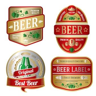 Set di etichette di birra luminose di diverse forme di illustrazione