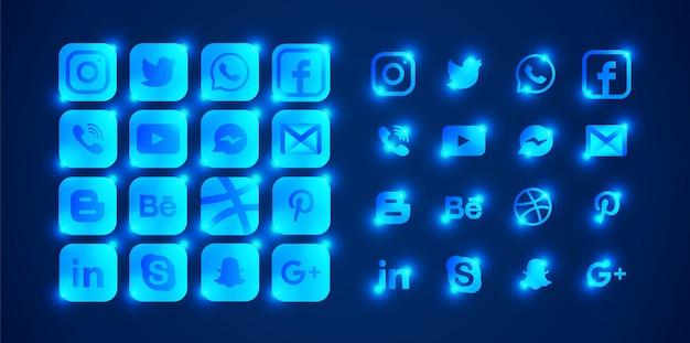 Set di loghi blu social media luminosi.