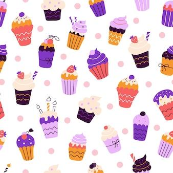 Set di cupcakes colorati luminosi nello stile di scarabocchi piatti reticolo senza giunte di vettore