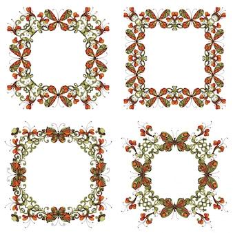 Set di cornici luminose di fiori e farfalle. l'annata fiorisce gli elementi di progettazione isolati su fondo bianco