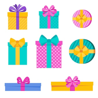 Set di scatole regalo per vacanze divertenti e luminose. elemento per carte per compleanno, capodanno e natale, anniversario. piacevole sorpresa, gioia e atmosfera festosa. illustrazione vettoriale piatto.