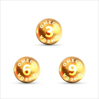 Set di icone lucide luminose di omega isolato su bianco