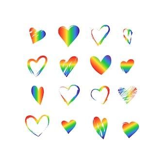 Set di icone luminose a forma di cuore e una linea sottile nei colori dell'arcobaleno.