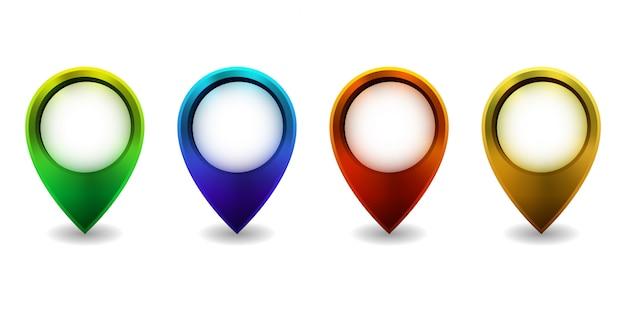 Insieme dell'icona luminosa del puntatore della mappa su fondo bianco. illustrazione