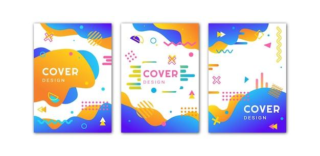 Una serie di copertine luminose in stile memphis. illustrazione vettoriale.