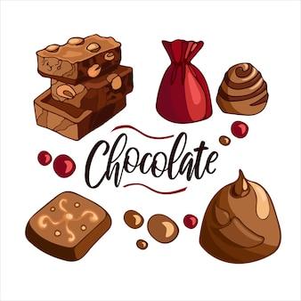 Set luminoso di cioccolato al latte con confetti di caramelle alle noci illustrazione vettoriale di cibo da dessert
