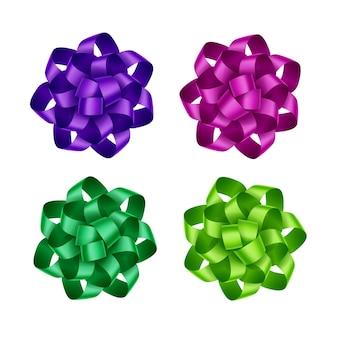 Set di fiocchi di nastro regalo verde smeraldo verde rosa scuro magenta viola brillante si chiudono su sfondo bianco