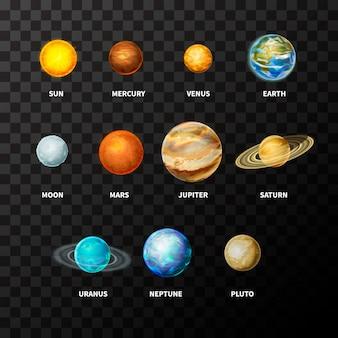 Insieme di pianeti realistici luminosi sul sistema solare come mercurio, venere, terra, marte, giove, saturno, urano, nettuno e plutone, tra cui sole e luna su trasparente