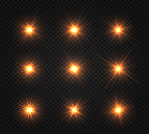Set di stelle luminose. la luce dorata incandescente esplode su uno sfondo trasparente.